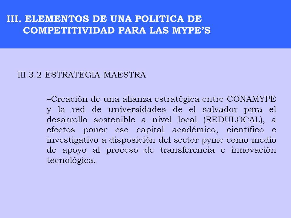 III. ELEMENTOS DE UNA POLITICA DE COMPETITIVIDAD PARA LAS MYPES III.3.2 ESTRATEGIA MAESTRA –Creación de una alianza estratégica entre CONAMYPE y la re