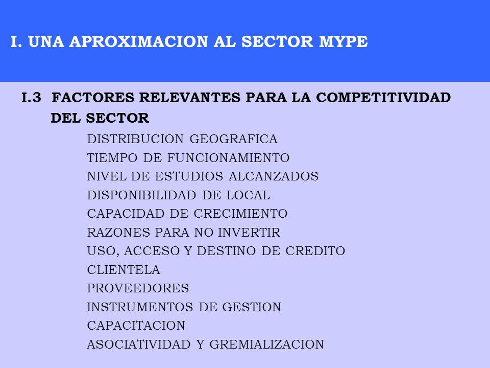 I. UNA APROXIMACION AL SECTOR MYPE DISTRIBUCION GEOGRAFICA TIEMPO DE FUNCIONAMIENTO NIVEL DE ESTUDIOS ALCANZADOS DISPONIBILIDAD DE LOCAL CAPACIDAD DE