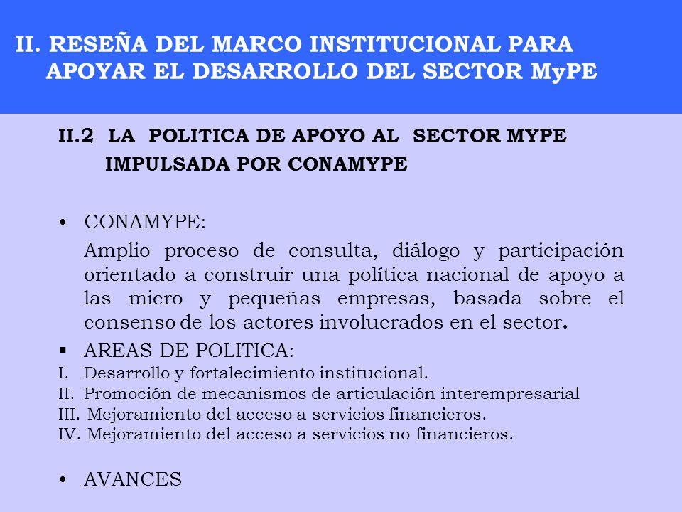II. RESEÑA DEL MARCO INSTITUCIONAL PARA APOYAR EL DESARROLLO DEL SECTOR MyPE II.2 LA POLITICA DE APOYO AL SECTOR MYPE IMPULSADA POR CONAMYPE CONAMYPE: