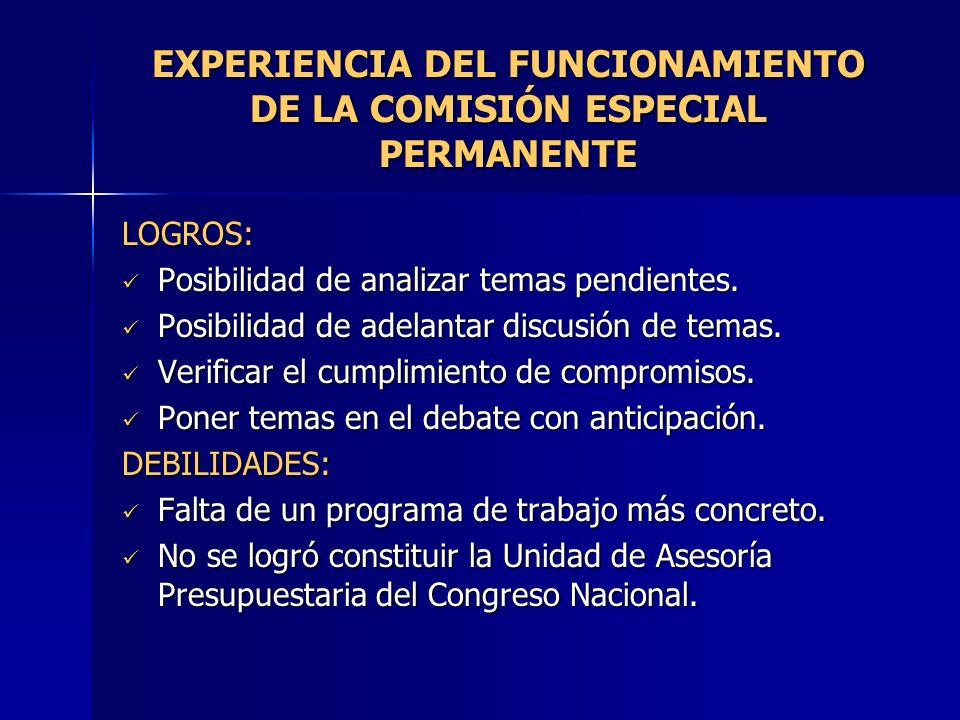 EXPERIENCIA DEL FUNCIONAMIENTO DE LA COMISIÓN ESPECIAL PERMANENTE LOGROS: Posibilidad de analizar temas pendientes. Posibilidad de analizar temas pend