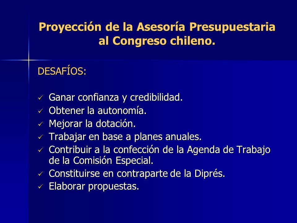 Proyección de la Asesoría Presupuestaria al Congreso chileno. DESAFÍOS: Ganar confianza y credibilidad. Ganar confianza y credibilidad. Obtener la aut