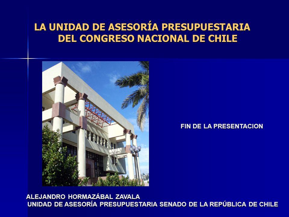 LA UNIDAD DE ASESORÍA PRESUPUESTARIA DEL CONGRESO NACIONAL DE CHILE FIN DE LA PRESENTACION ALEJANDRO HORMAZÁBAL ZAVALA ALEJANDRO HORMAZÁBAL ZAVALA UNI