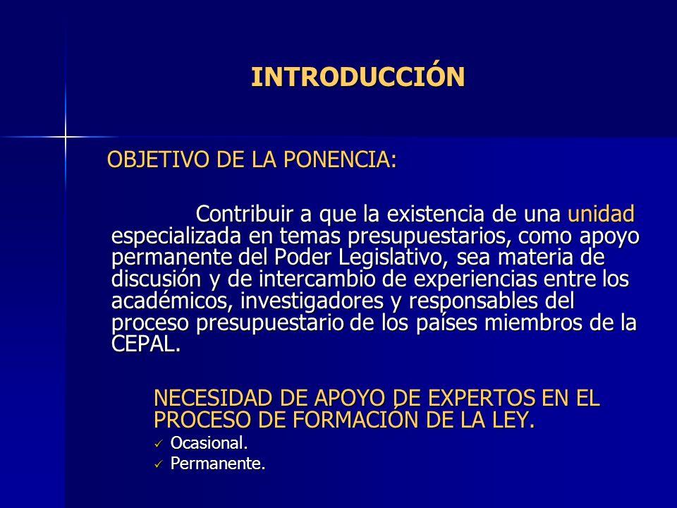 INTRODUCCIÓN OBJETIVO DE LA PONENCIA: OBJETIVO DE LA PONENCIA: Contribuir a que la existencia de una unidad especializada en temas presupuestarios, co