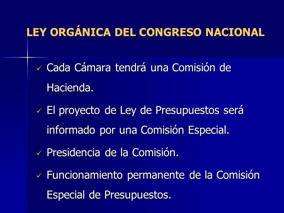 LEY ORGÁNICA DEL CONGRESO NACIONAL Cada Cámara tendrá una Comisión de Hacienda. Cada Cámara tendrá una Comisión de Hacienda. El proyecto de Ley de Pre