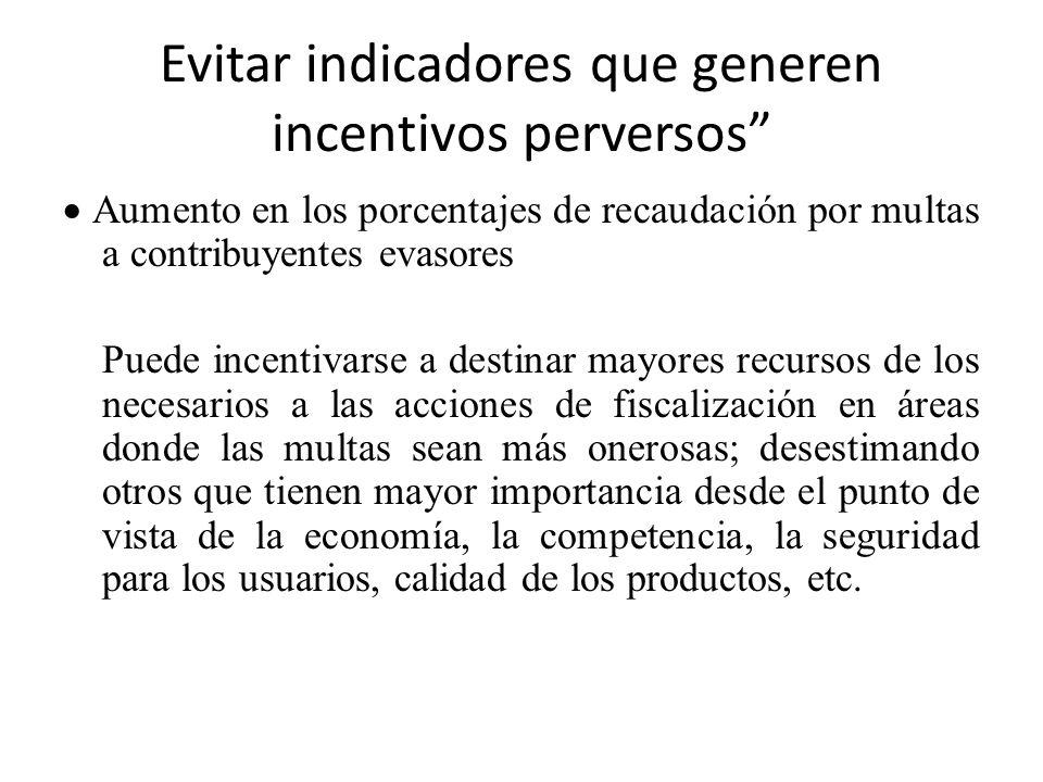 Evitar indicadores que generen incentivos perversos Porcentaje de detenciones por delitos Puede incentivarse una acción represiva no acorde con la situación delictiva, o destinar recursos extras para la represión del delito, dejando otras acciones preventivas, etc)