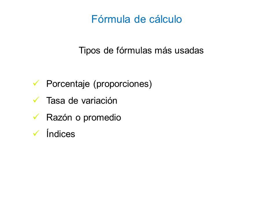 Razón entre dos variables con una misma unidad de medida numerador denominador * 100 = X por ciento Igual unidad de medida (personas, Km., solicitudes, etc.