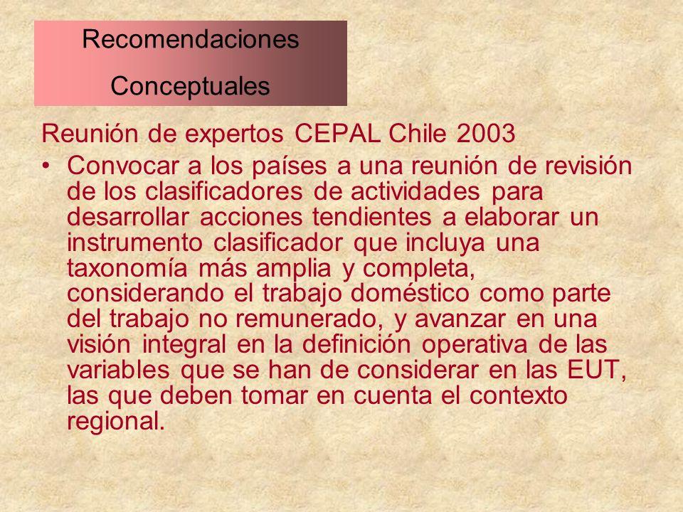 Reunión de expertos CEPAL Chile 2003 Convocar a los países a una reunión de revisión de los clasificadores de actividades para desarrollar acciones te