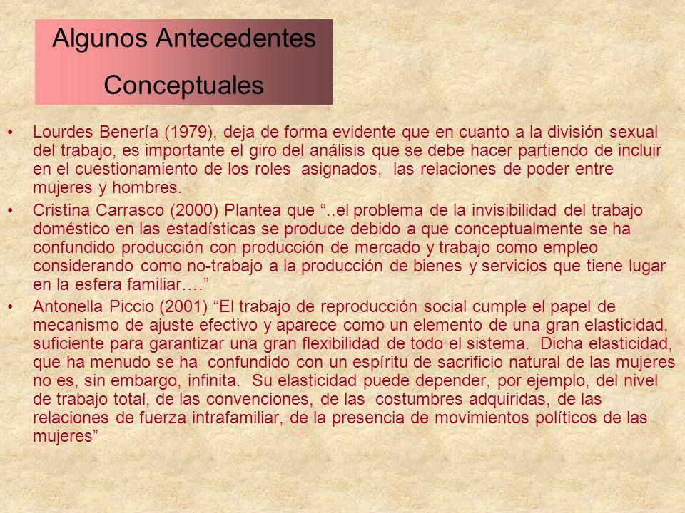 Lourdes Benería (1979), deja de forma evidente que en cuanto a la división sexual del trabajo, es importante el giro del análisis que se debe hacer pa