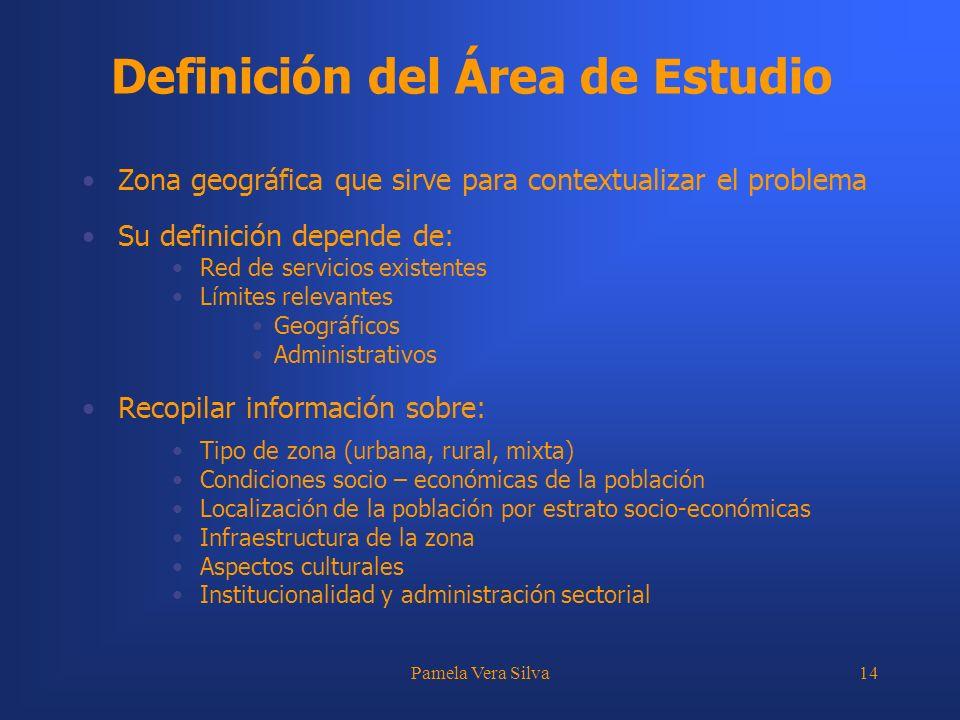 Pamela Vera Silva14 Definición del Área de Estudio Zona geográfica que sirve para contextualizar el problema Su definición depende de: Red de servicio