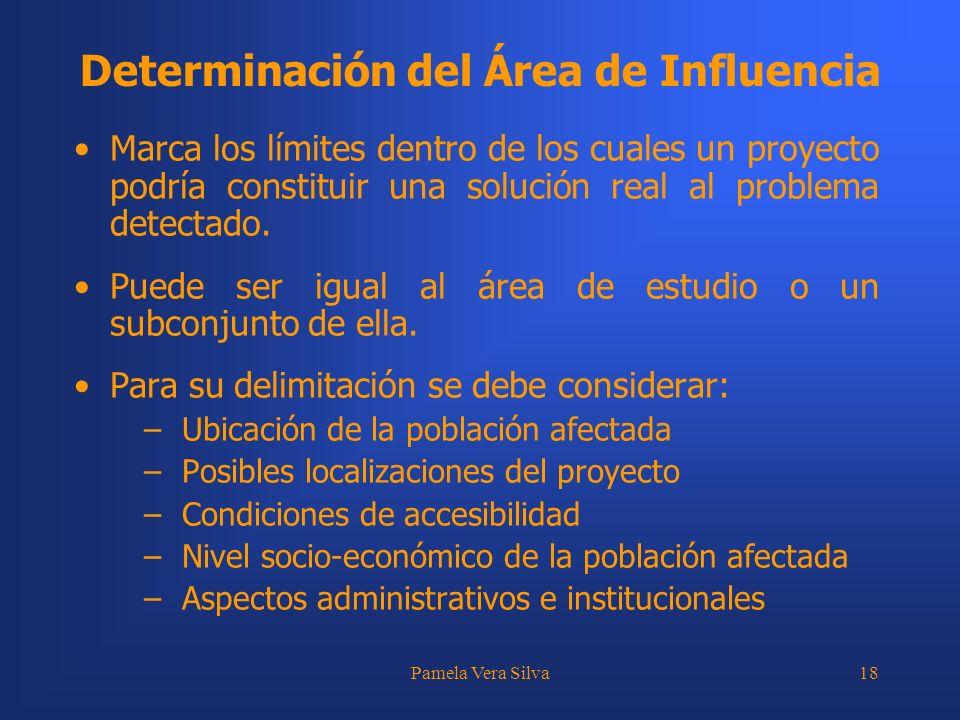 Pamela Vera Silva18 Determinación del Área de Influencia Marca los límites dentro de los cuales un proyecto podría constituir una solución real al pro