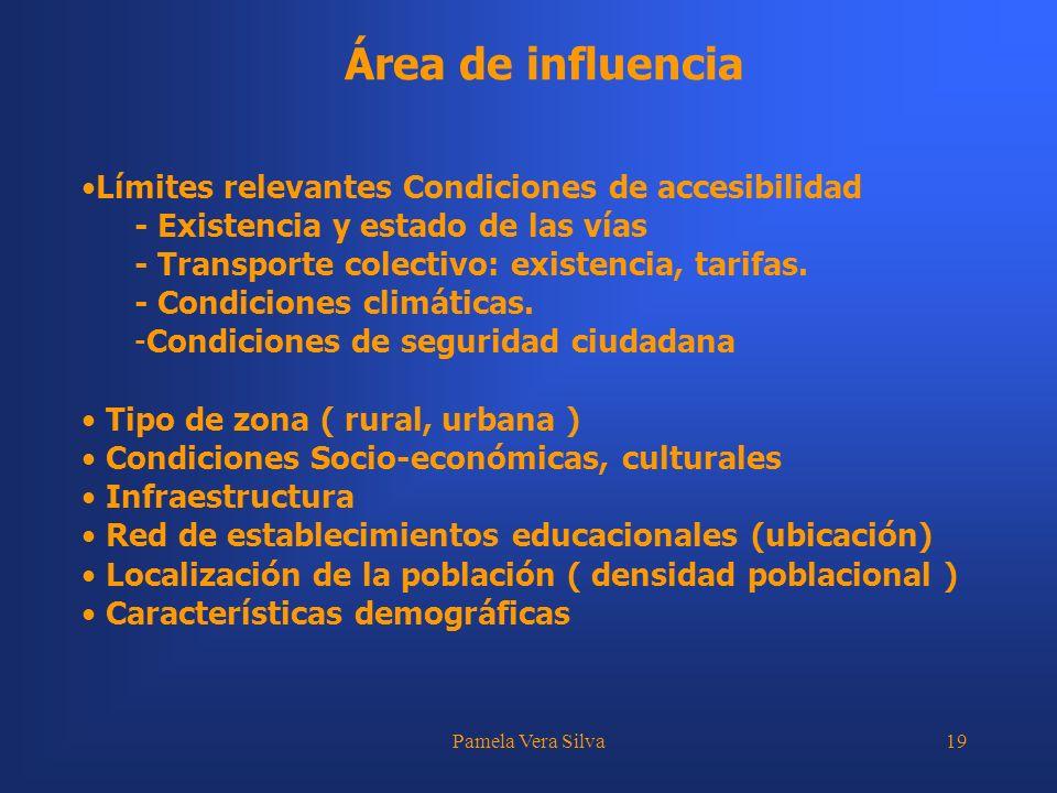 Pamela Vera Silva19 Área de influencia Límites relevantes Condiciones de accesibilidad - Existencia y estado de las vías - Transporte colectivo: exist