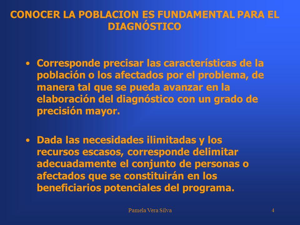 Pamela Vera Silva4 CONOCER LA POBLACION ES FUNDAMENTAL PARA EL DIAGNÓSTICO Corresponde precisar las características de la población o los afectados po
