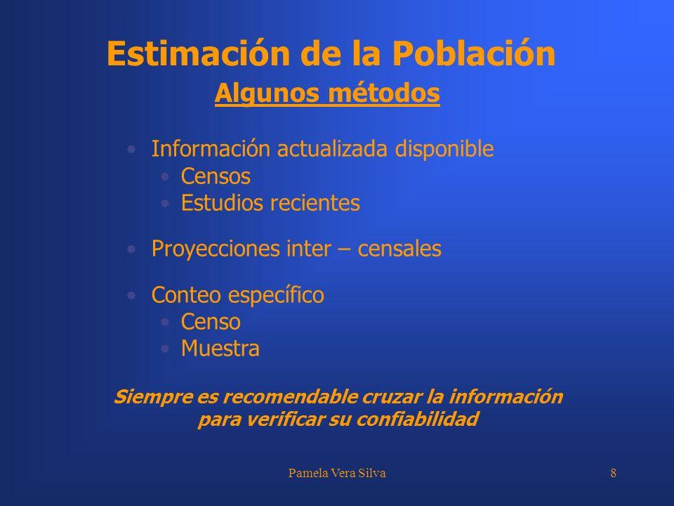 Pamela Vera Silva8 Estimación de la Población Algunos métodos Información actualizada disponible Censos Estudios recientes Proyecciones inter – censal