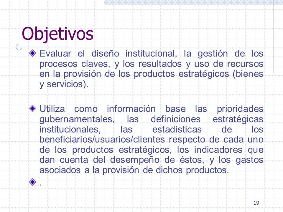 19 Objetivos Evaluar el diseño institucional, la gestión de los procesos claves, y los resultados y uso de recursos en la provisión de los productos e