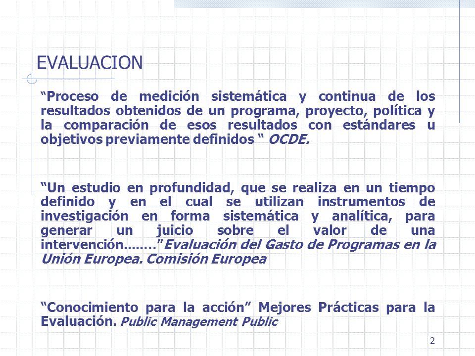 2 EVALUACION Proceso de medición sistemática y continua de los resultados obtenidos de un programa, proyecto, política y la comparación de esos result