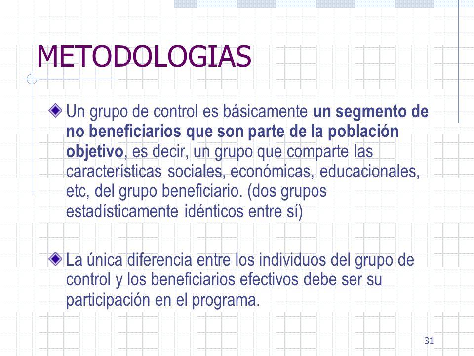 31 METODOLOGIAS Un grupo de control es básicamente un segmento de no beneficiarios que son parte de la población objetivo, es decir, un grupo que comp