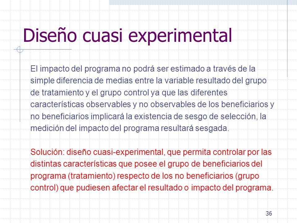 36 Diseño cuasi experimental El impacto del programa no podrá ser estimado a través de la simple diferencia de medias entre la variable resultado del