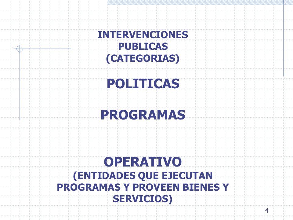 4 INTERVENCIONES PUBLICAS (CATEGORIAS) POLITICAS PROGRAMAS OPERATIVO (ENTIDADES QUE EJECUTAN PROGRAMAS Y PROVEEN BIENES Y SERVICIOS)