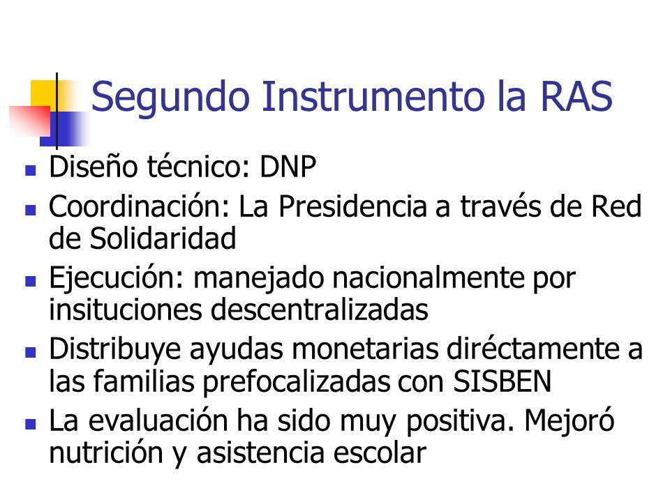 Segundo Instrumento la RAS Diseño técnico: DNP Coordinación: La Presidencia a través de Red de Solidaridad Ejecución: manejado nacionalmente por insituciones descentralizadas Distribuye ayudas monetarias diréctamente a las familias prefocalizadas con SISBEN La evaluación ha sido muy positiva.