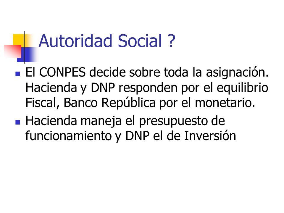 Autoridad Social . El CONPES decide sobre toda la asignación.