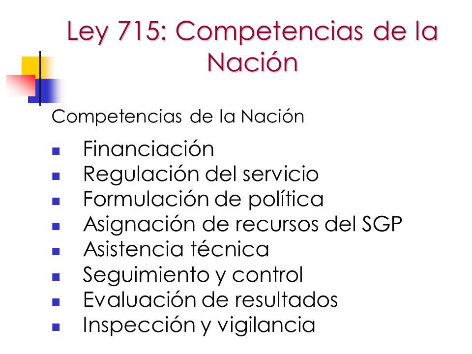 Ley 715: Competencias de la Nación Competencias de la Nación Financiación Regulación del servicio Formulación de política Asignación de recursos del SGP Asistencia técnica Seguimiento y control Evaluación de resultados Inspección y vigilancia