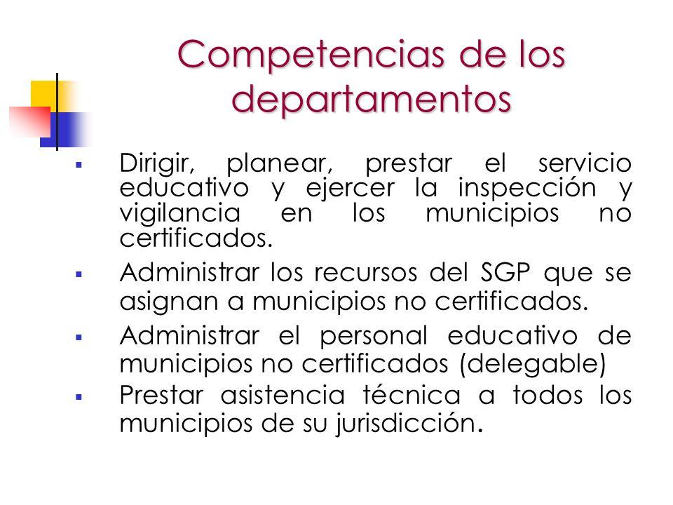 Competencias de los departamentos Dirigir, planear, prestar el servicio educativo y ejercer la inspección y vigilancia en los municipios no certificados.
