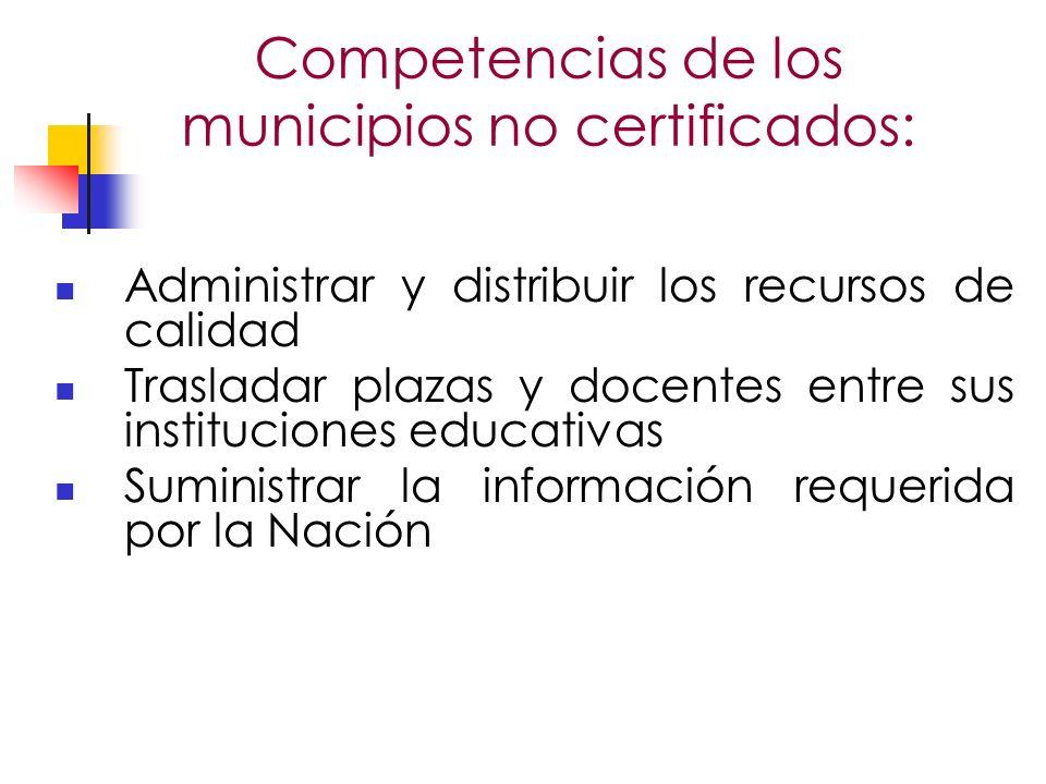 Competencias de los municipios no certificados: Administrar y distribuir los recursos de calidad Trasladar plazas y docentes entre sus instituciones educativas Suministrar la información requerida por la Nación