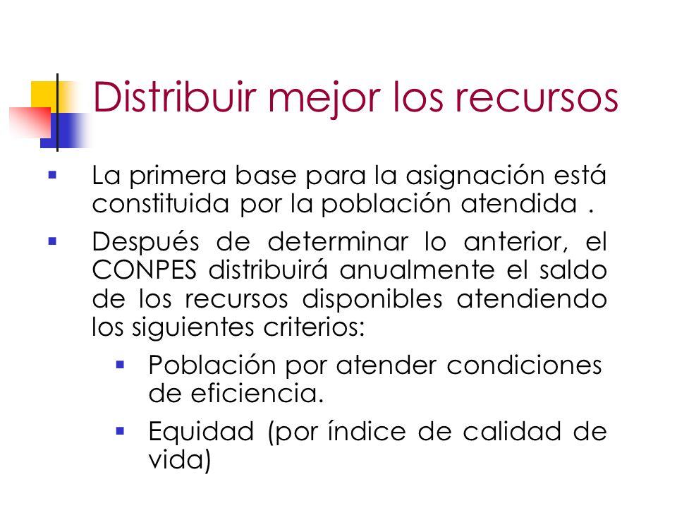 Distribuir mejor los recursos La primera base para la asignación está constituida por la población atendida.