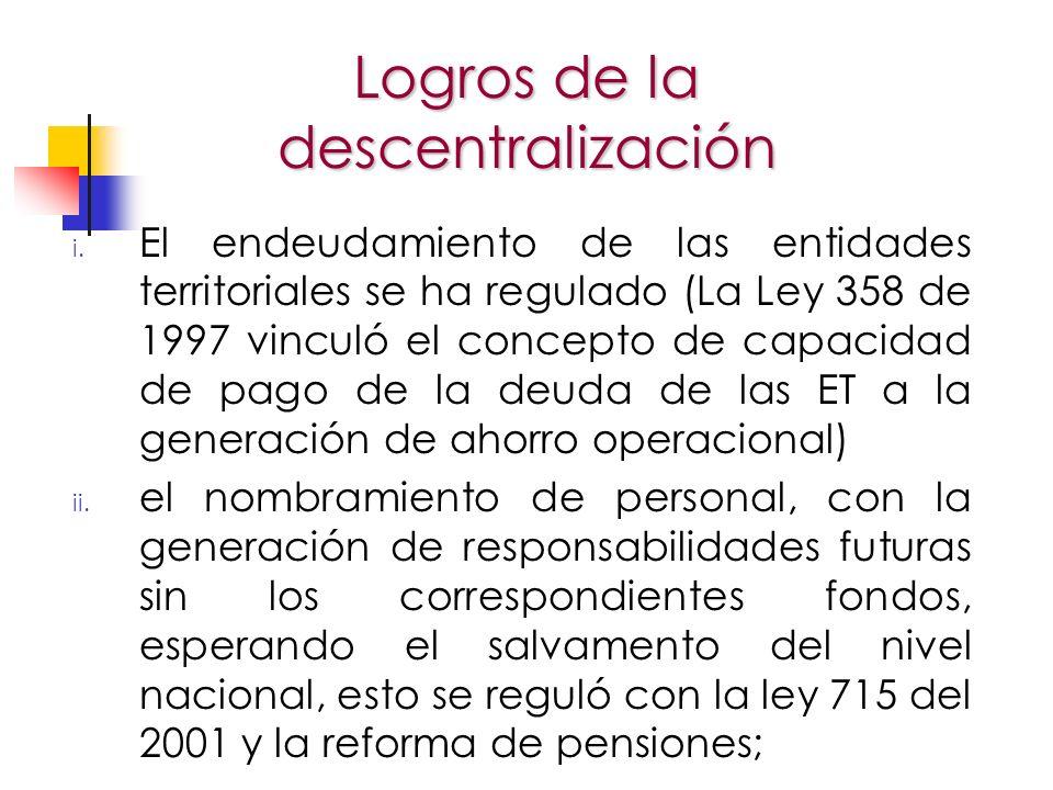 i. El endeudamiento de las entidades territoriales se ha regulado (La Ley 358 de 1997 vinculó el concepto de capacidad de pago de la deuda de las ET a