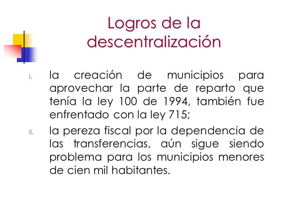 i. la creación de municipios para aprovechar la parte de reparto que tenía la ley 100 de 1994, también fue enfrentado con la ley 715; ii. la pereza fi