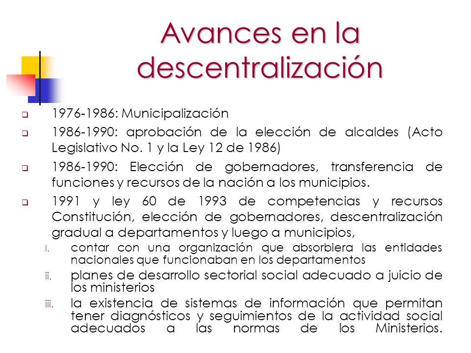 La ley 715 de 2001 (Sistema General de Participaciones) Aceleró la descentralización para los 38 departamentos, los cuatro distritos y 36 municipios con más de 100.000 habitantes y dejó a la reglamentación el establecimiento de condiciones para los nuevos.(Esto significa alrededor de 30 % de la población).