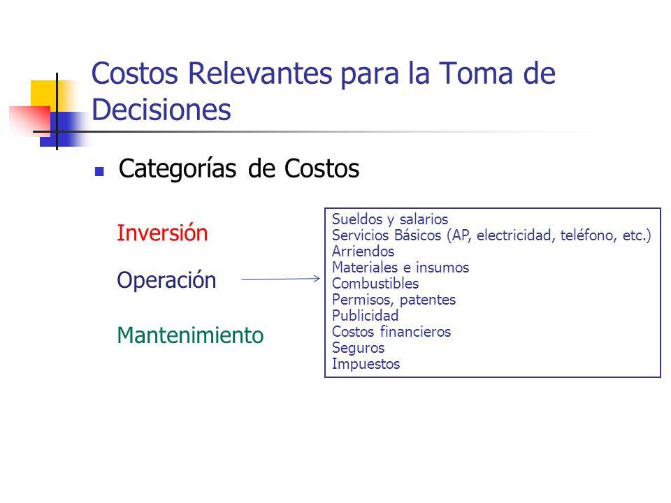 Costos Relevantes para la Toma de Decisiones Categorías de Costos Inversión Operación Mantenimiento Estudios de preinversión y diseñoo de ingeniería.