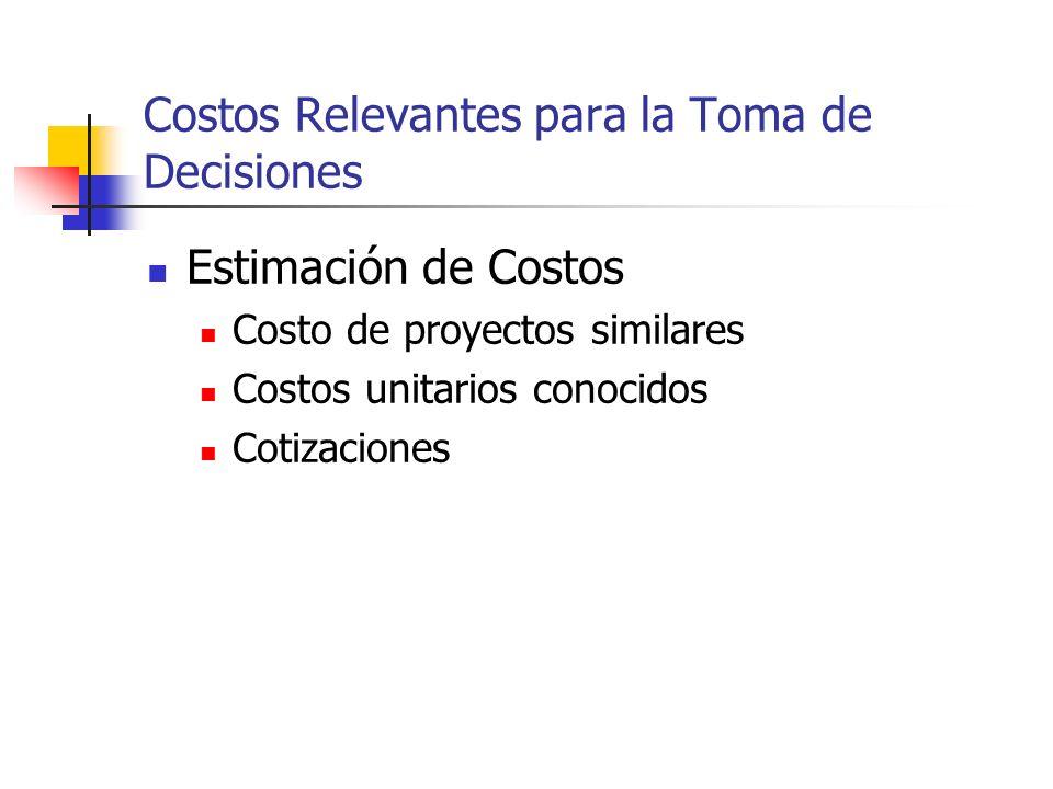 Costos Relevantes para la Toma de Decisiones Categorías de Costos Inversión Operación Mantenimiento Mantenimiento de equipos, maquinarias y edificios