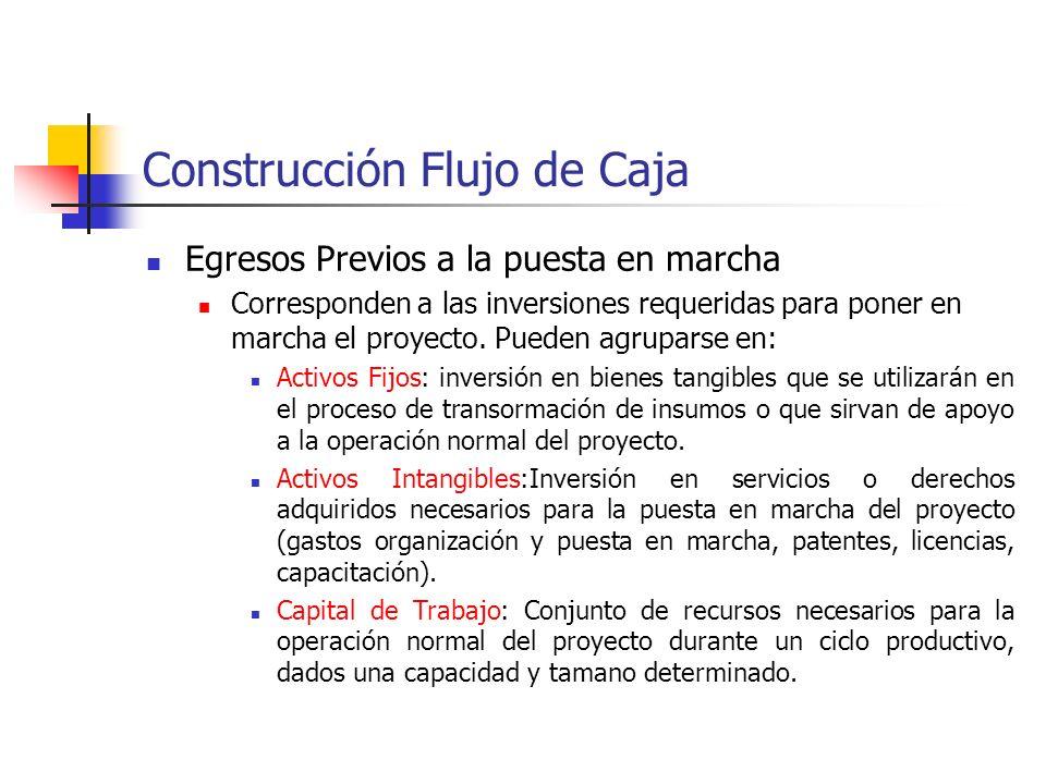 Construcción Flujo de Caja Flujo de Ingresos y Egresos de Caja (Flujo de Caja) Es posible clasificar, para efectos expositivos, los ítemes del FC de u