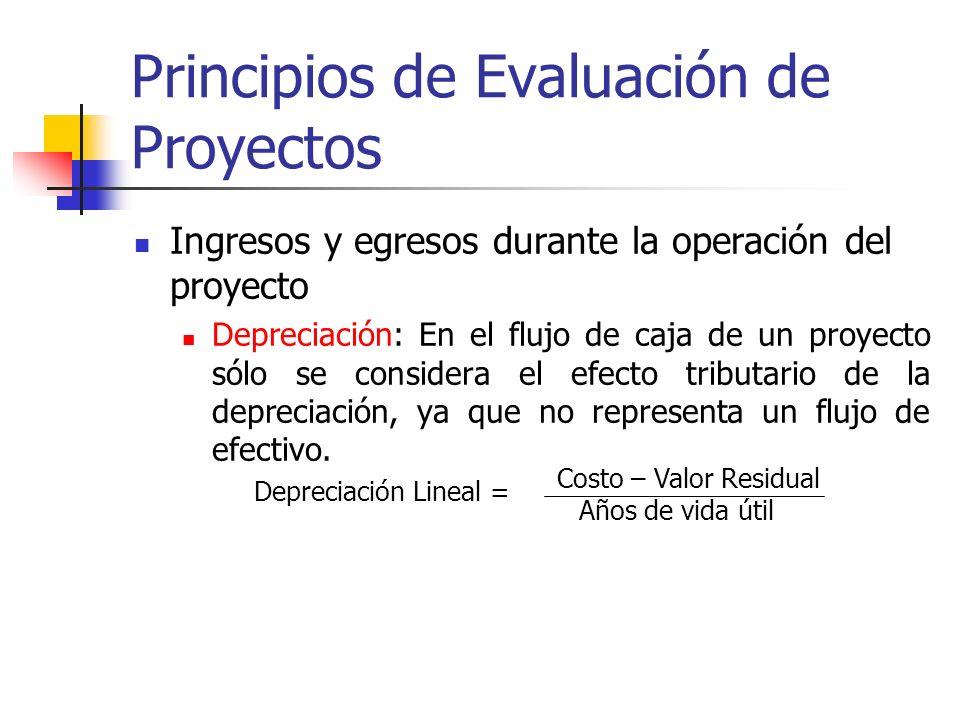 Principios de Evaluación de Proyectos Ingresos y egresos durante la operación del proyecto + Ingresos afectos a impuestos - Egresos afectos a impuesto