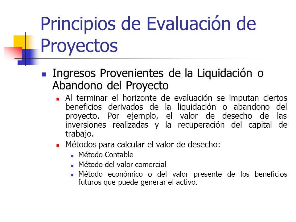 Principios de Evaluación de Proyectos Ingresos y egresos durante la operación del proyecto Depreciación: En el flujo de caja de un proyecto sólo se co