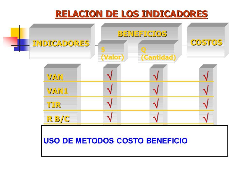 Otros Indicadores Razón Beneficio Costo : R B/C Período de Recuperación de Capital : t / I0 - Ingresos del Proyecto) = 0 VAN del Año 1 : VAN1 Tasa de
