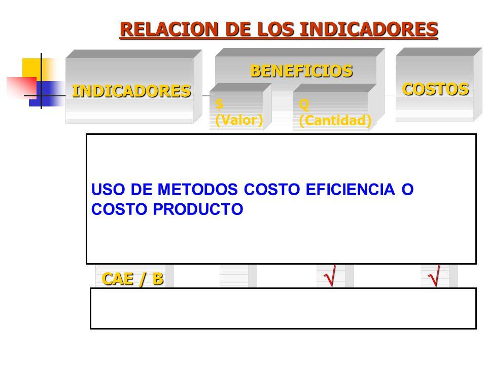 RELACION DE LOS INDICADORES INDICADORES COSTOS BENEFICIOS BENEFICIOS Q (Cantidad) VANVAN1TIR R B/C CAE / B CAE $ (Valor) USO DE METODOS COSTO BENEFICI