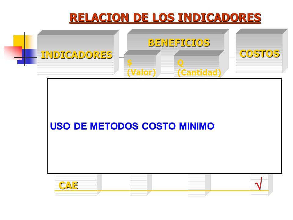 RELACION DE LOS INDICADORES INDICADORES COSTOS BENEFICIOS BENEFICIOS Q (Cantidad) VANVAN1TIR R B/C CAE / B CAE $ (Valor) USO DE METODOS COSTO EFICIENC