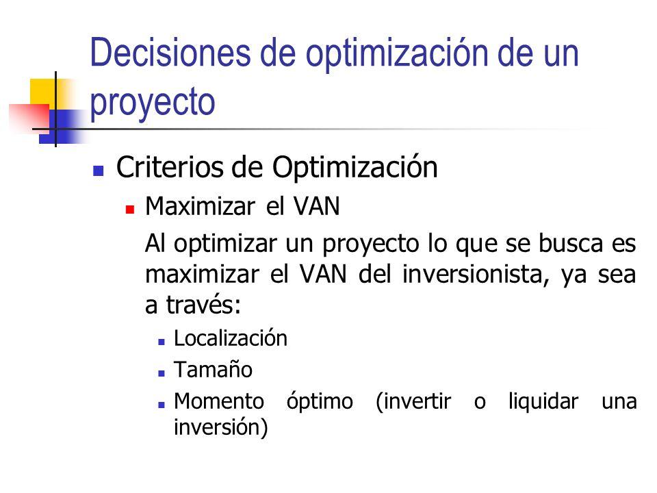 Contenidos Decisiones de optimización de un proyecto Decisiones de tamaño óptimo Momento óptimo de inicio y de liquidar una inversión Localización.