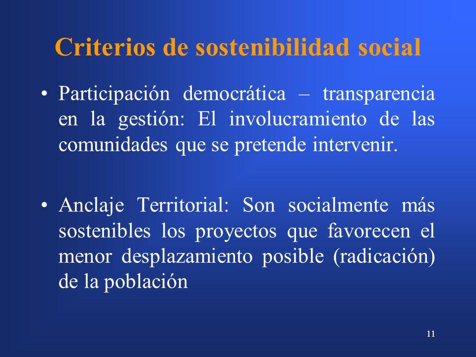 11 Criterios de sostenibilidad social Participación democrática – transparencia en la gestión: El involucramiento de las comunidades que se pretende intervenir.