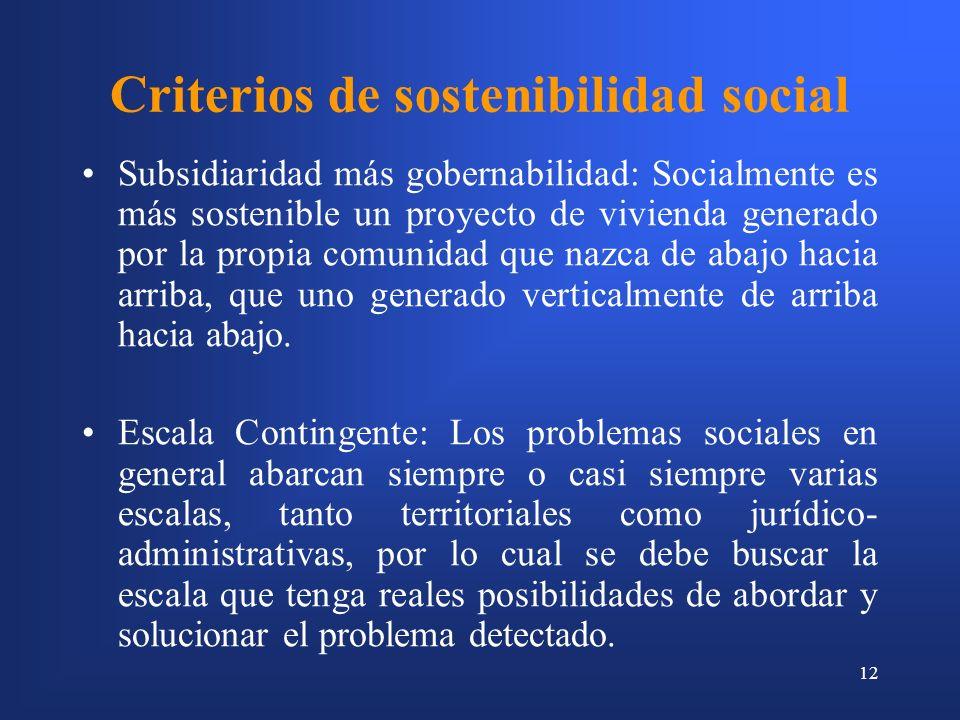 12 Criterios de sostenibilidad social Subsidiaridad más gobernabilidad: Socialmente es más sostenible un proyecto de vivienda generado por la propia comunidad que nazca de abajo hacia arriba, que uno generado verticalmente de arriba hacia abajo.