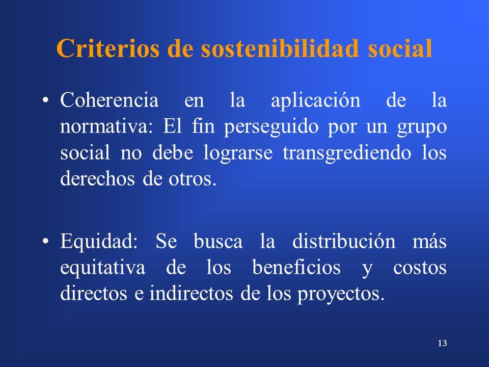 13 Criterios de sostenibilidad social Coherencia en la aplicación de la normativa: El fin perseguido por un grupo social no debe lograrse transgrediendo los derechos de otros.