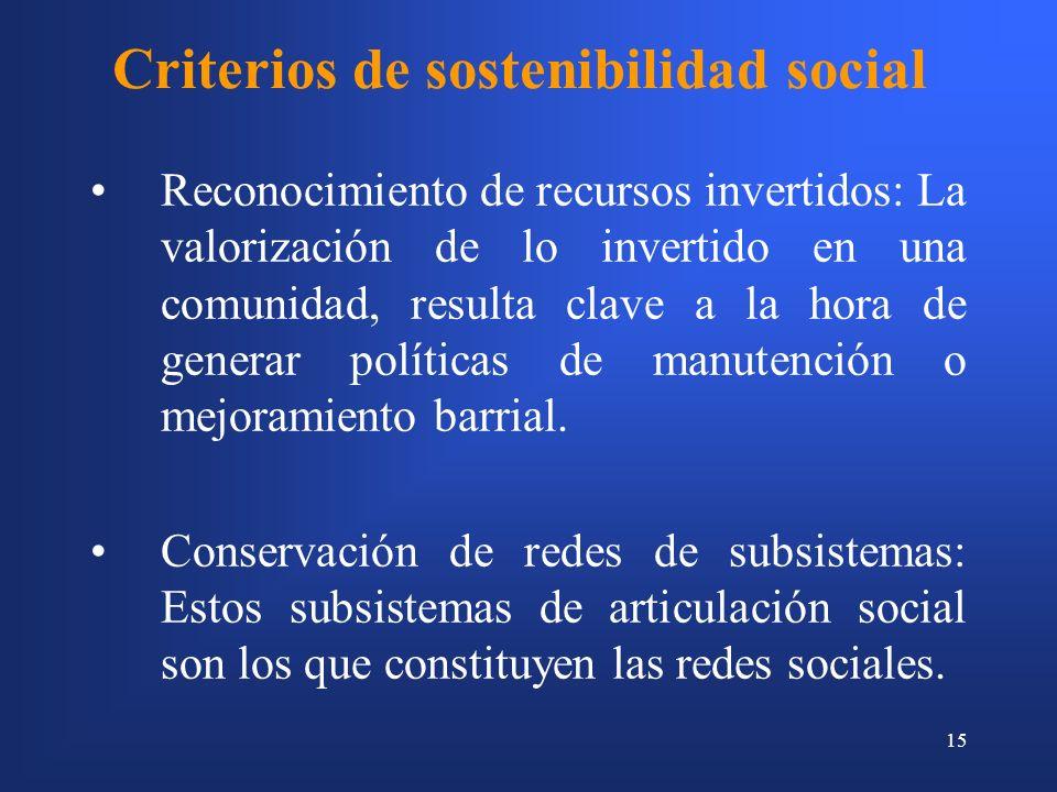 15 Criterios de sostenibilidad social Reconocimiento de recursos invertidos: La valorización de lo invertido en una comunidad, resulta clave a la hora de generar políticas de manutención o mejoramiento barrial.