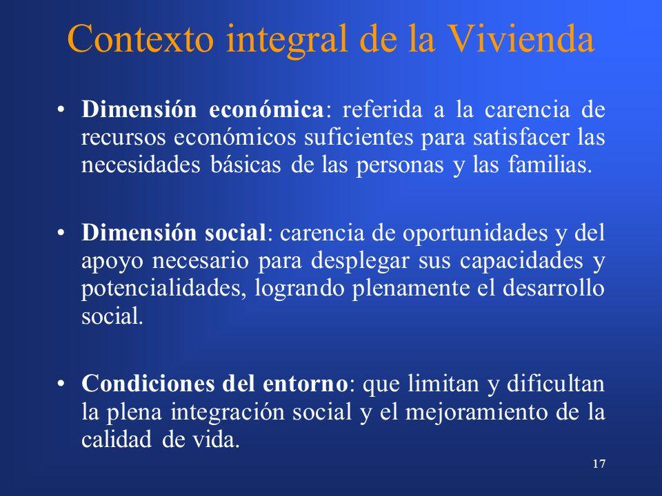 17 Contexto integral de la Vivienda Dimensión económica: referida a la carencia de recursos económicos suficientes para satisfacer las necesidades básicas de las personas y las familias.