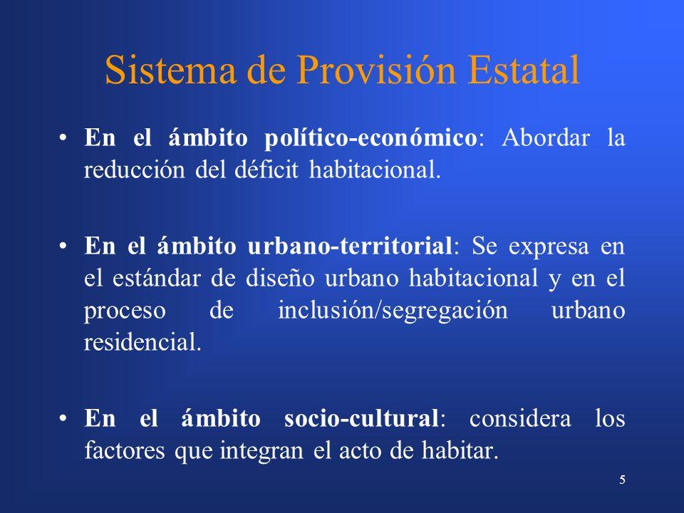 5 Sistema de Provisión Estatal En el ámbito político-económico: Abordar la reducción del déficit habitacional.