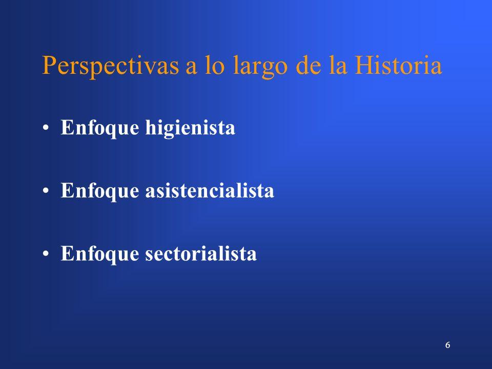 6 Perspectivas a lo largo de la Historia Enfoque higienista Enfoque asistencialista Enfoque sectorialista