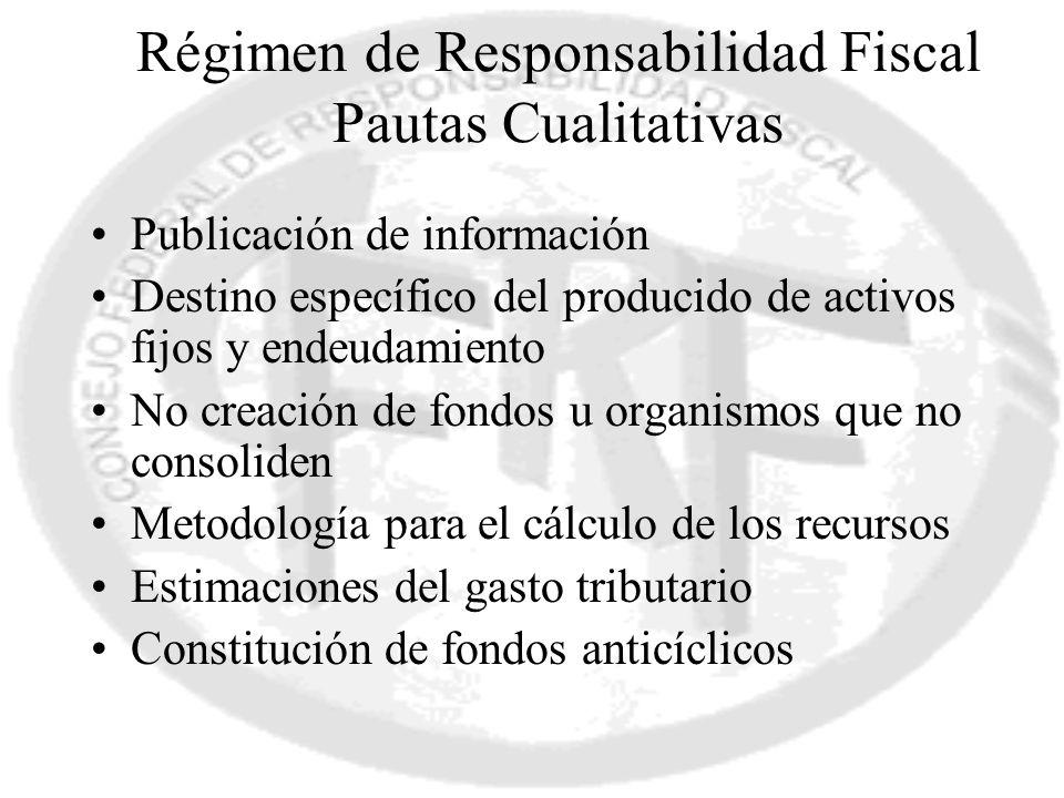 Publicación de información Destino específico del producido de activos fijos y endeudamiento No creación de fondos u organismos que no consoliden Meto