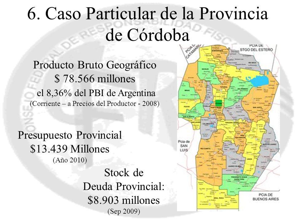 6. Caso Particular de la Provincia de Córdoba Producto Bruto Geográfico $ 78.566 millones el 8,36% del PBI de Argentina (Corriente – a Precios del Pro