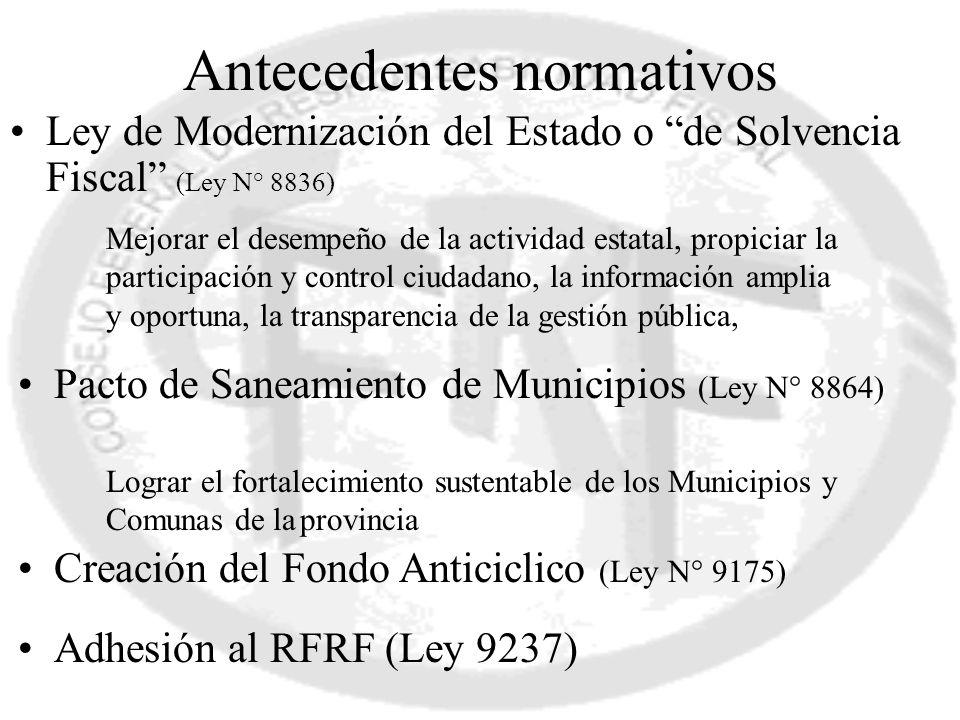 Antecedentes normativos Ley de Modernización del Estado o de Solvencia Fiscal (Ley N° 8836) Mejorar el desempeño de la actividad estatal, propiciar la